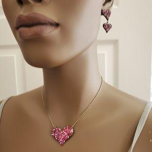 Heart pendant and earrings.